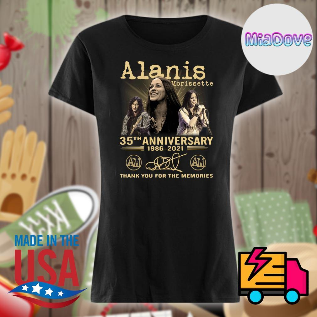 Alanis Morissette 35th anniversary 1986 2021 signatures thank you for the memories s V-neck