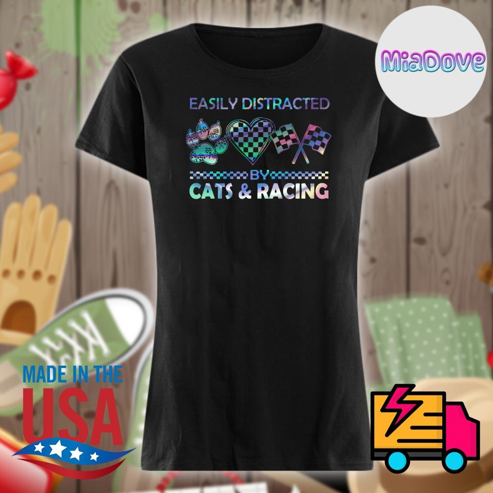 Easily distracted by cats and racing s V-neck