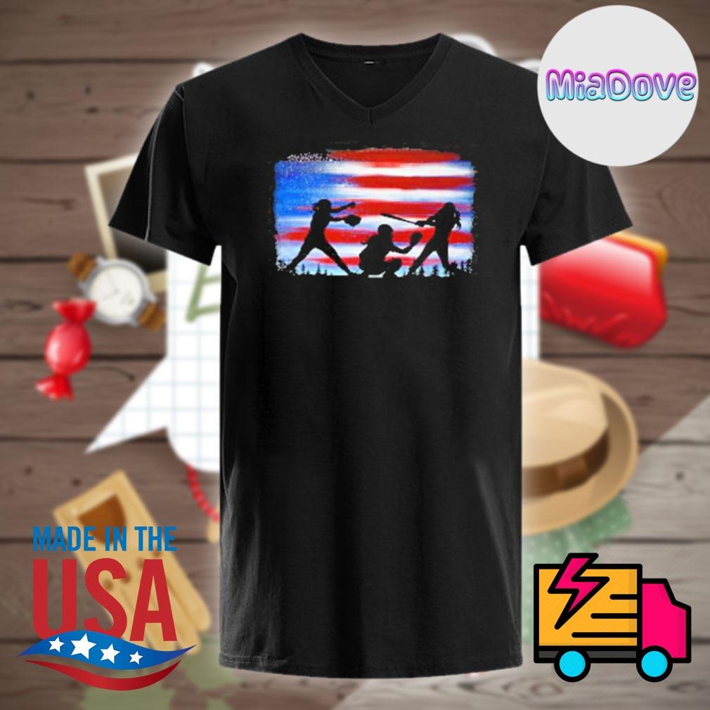 Softball player flag shirt