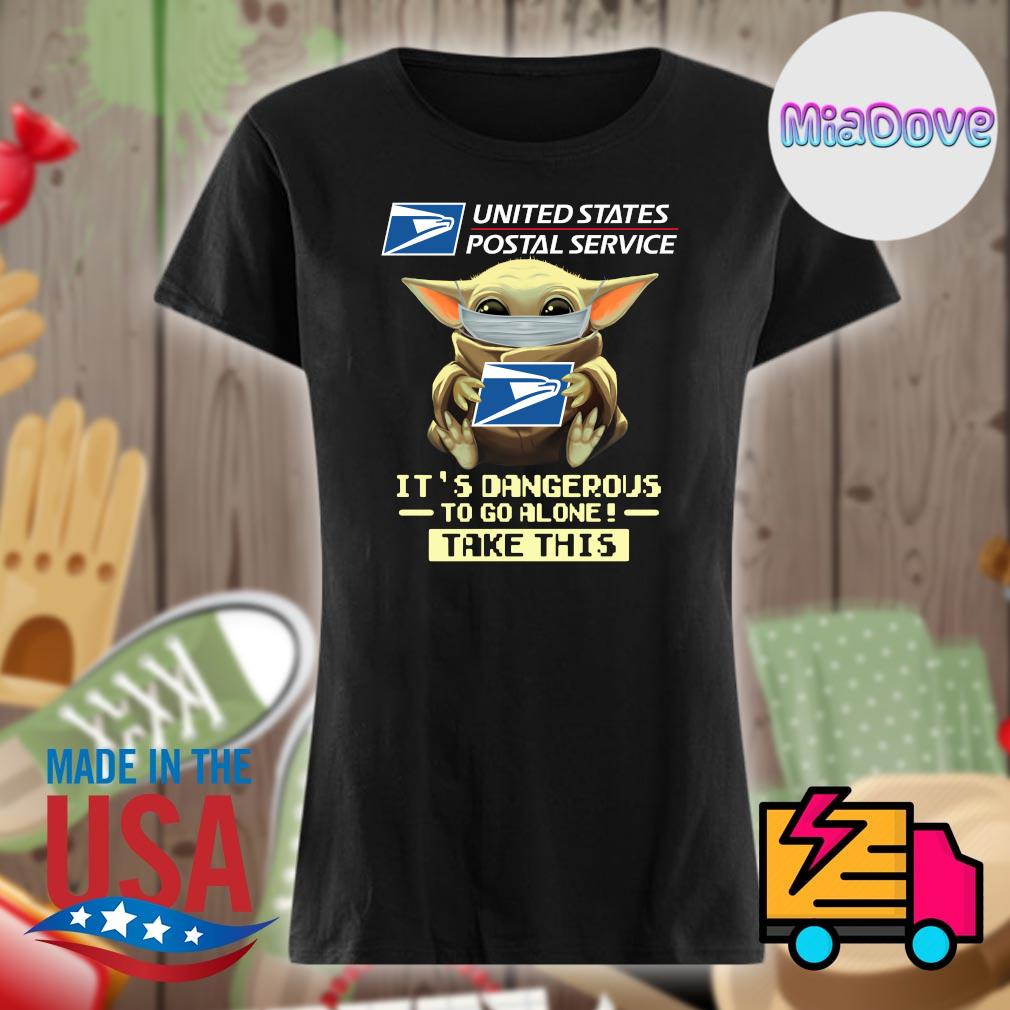 Baby yoda mask united states postal service it's dangerous to go alone take this s V-neck