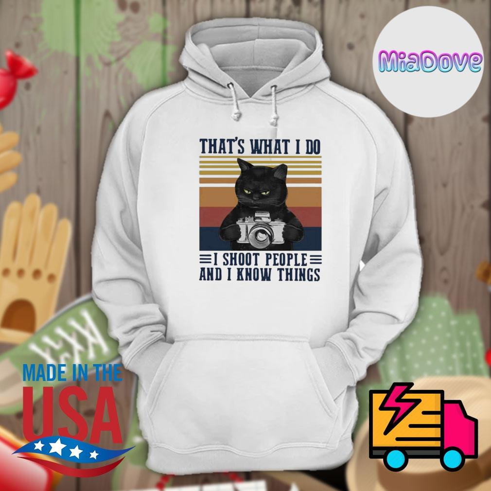 Black cat that's what I do I shoot people and I know things vintage s Hoodie