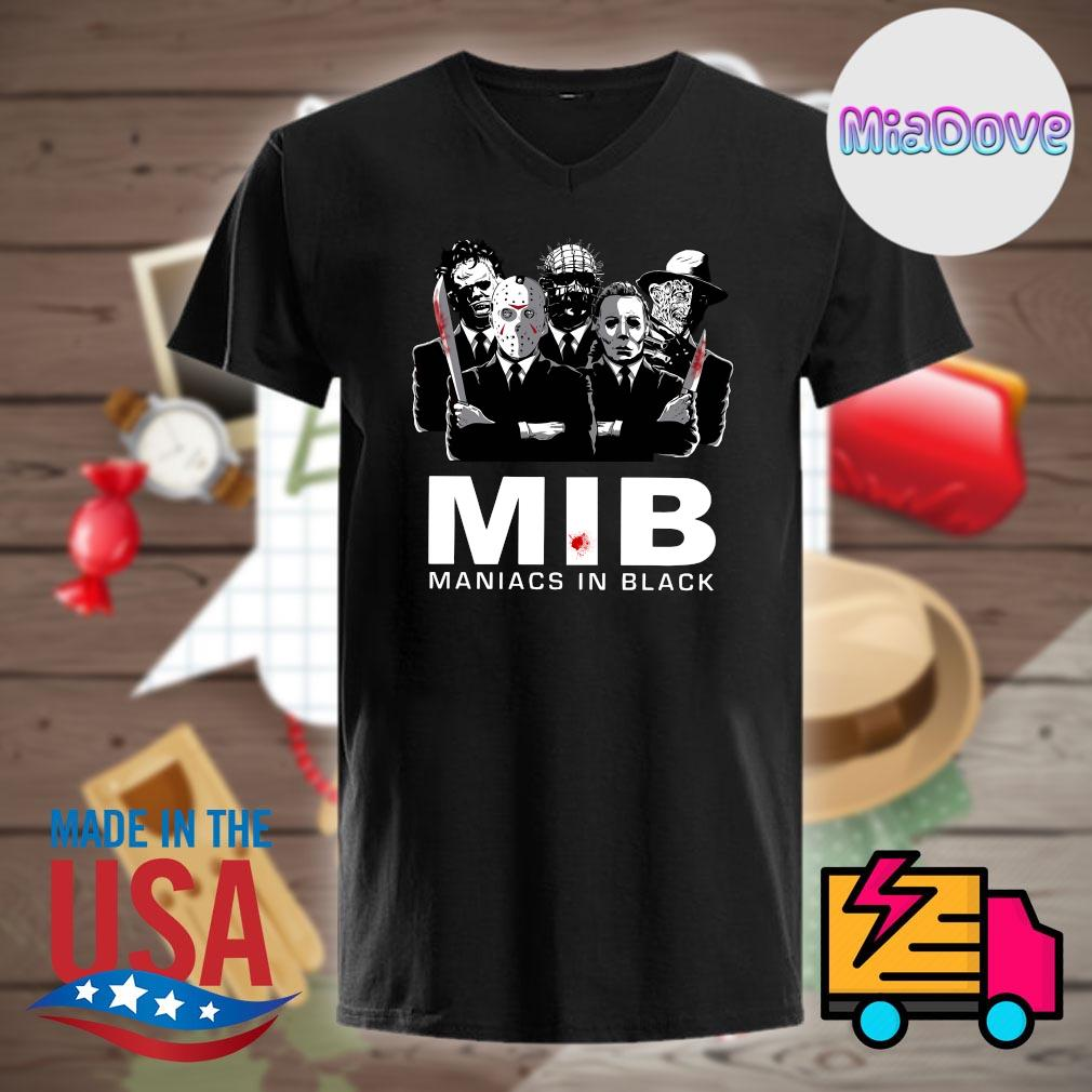 Halloween Horror characters MIB maniacs in black shirt