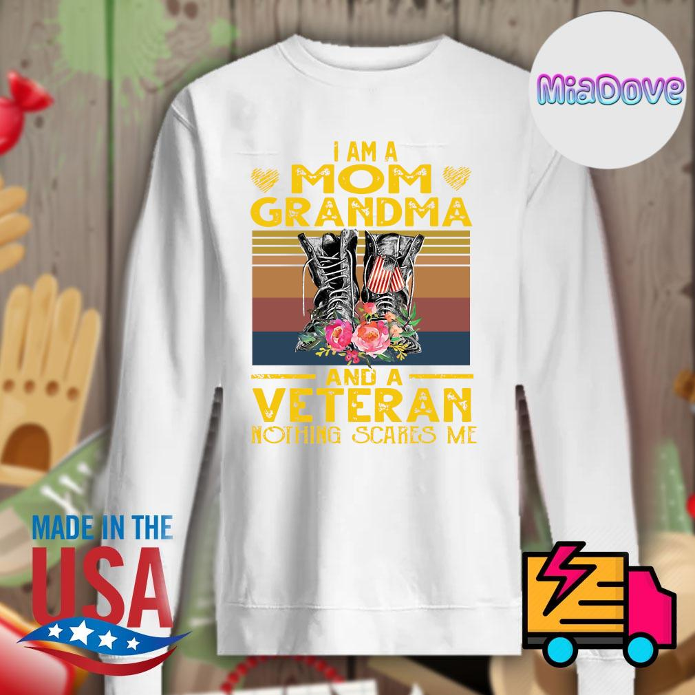 I am a mom grandma and a Veteran nothing scares me vintage s Sweater