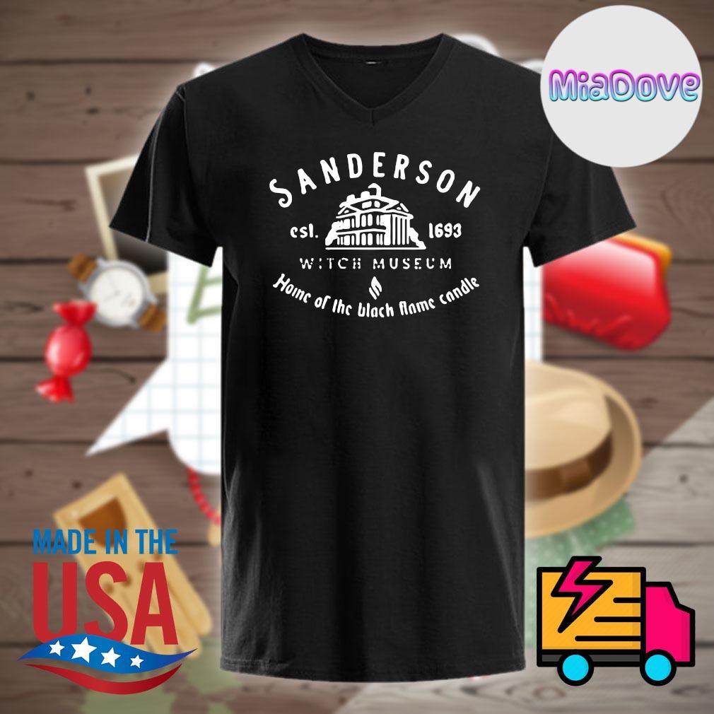 Sanderson est 1693 witch museum home of the black flame candle shirt