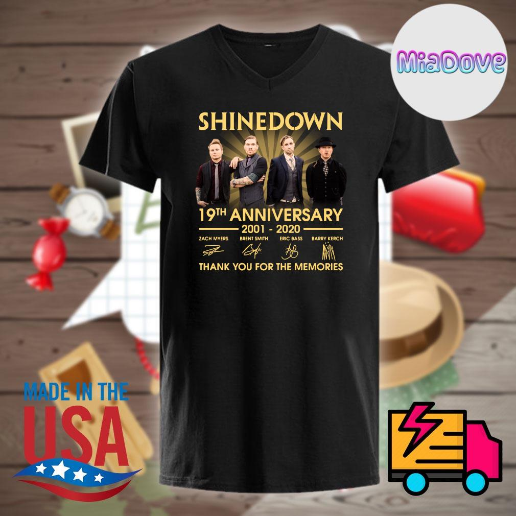 Shinedown 19th anniversary 2001 2020 signatures thank you for the memories shirt