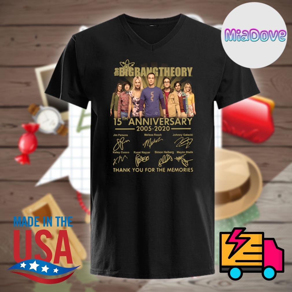 The Big Bang Theory 15th anniversary 2005 2020 signatures thank you for the memories shirt