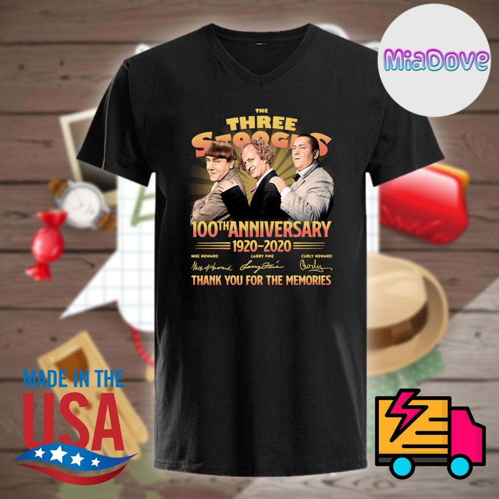The Three Stooges 100th anniversary 1920 2020 signatures thank you for the memories shirt