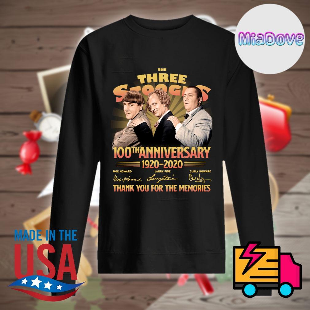 The Three Stooges 100th anniversary 1920 2020 signatures thank you for the memories s Sweater