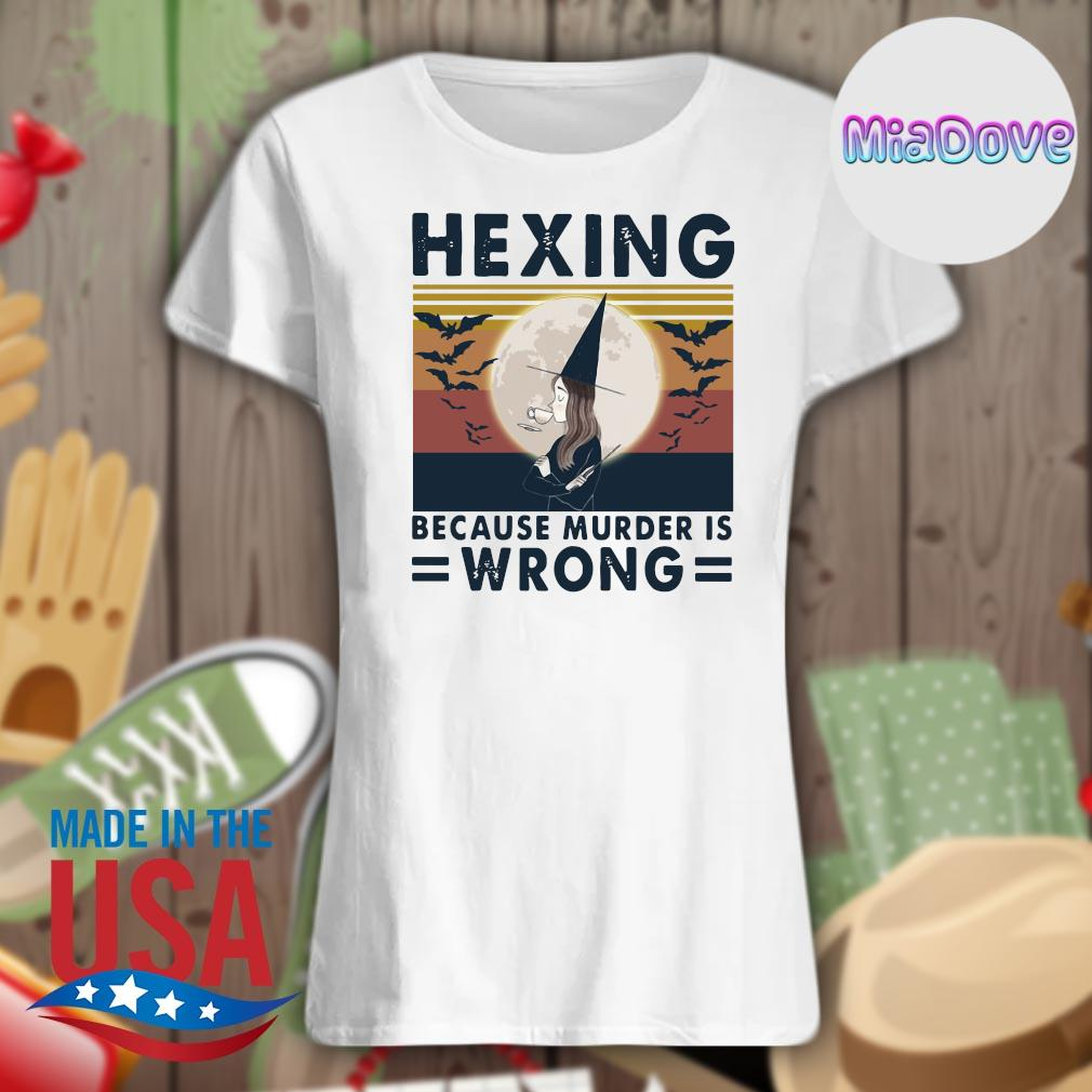 Witch Hexing because murder is Wrong vintage s V-neck