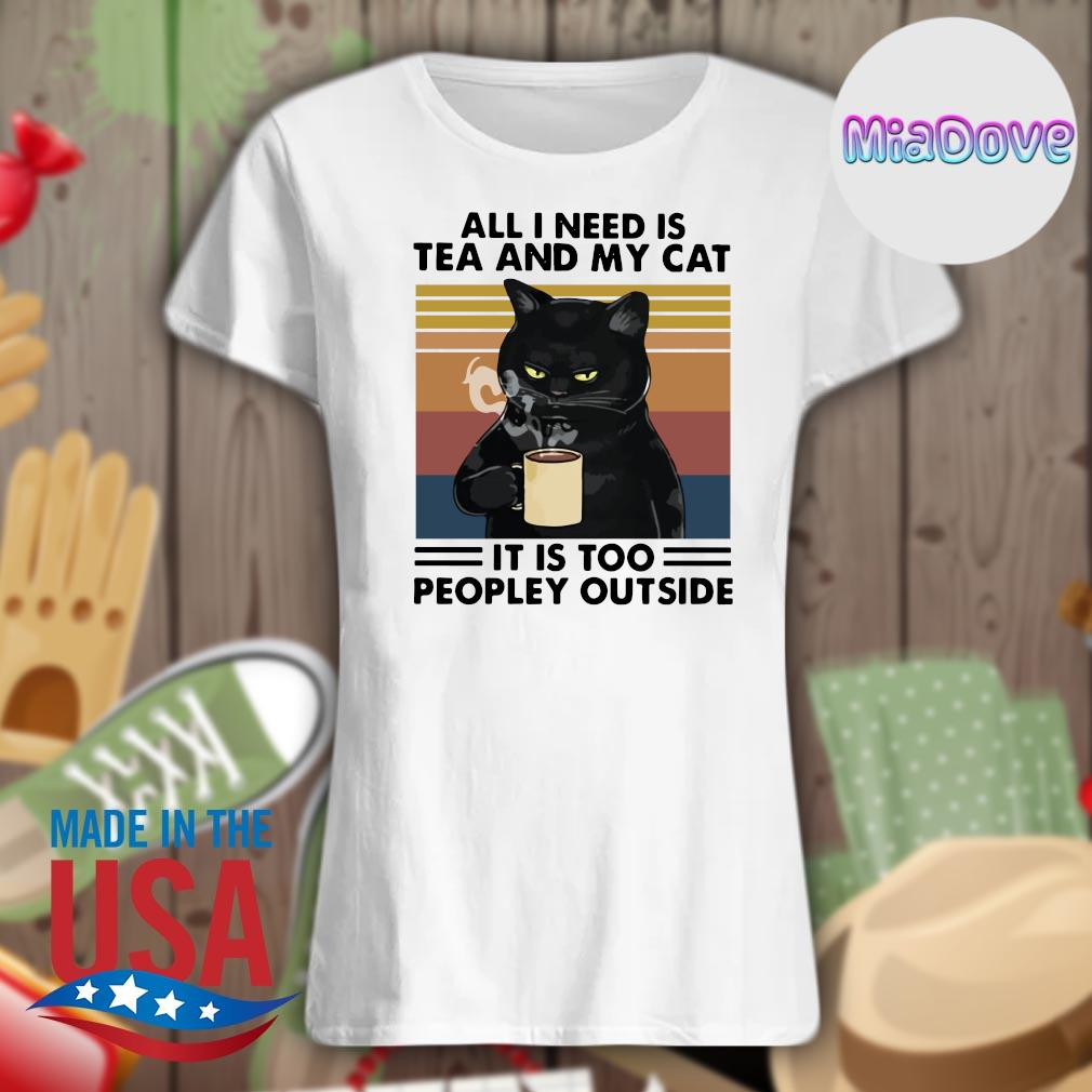 Black cat all I need is tea and my cat it is too peopley outside vintage s V-neck