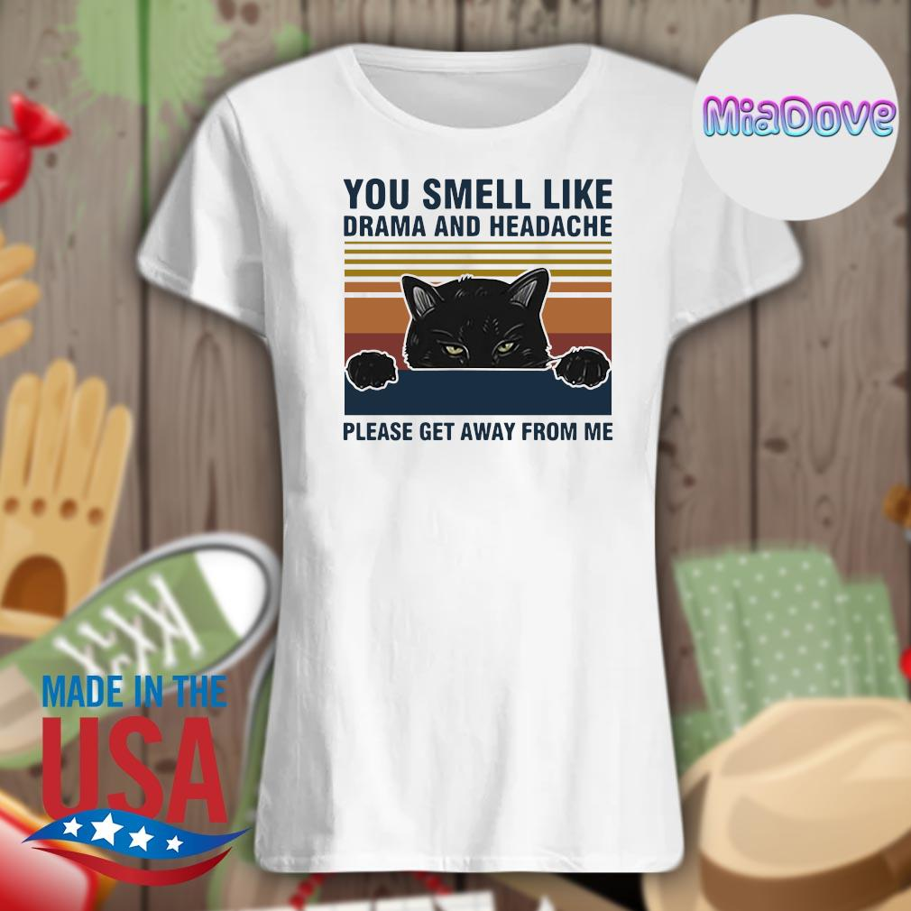 Black cat you smell like drama and headache please get away from me vintage s V-neck