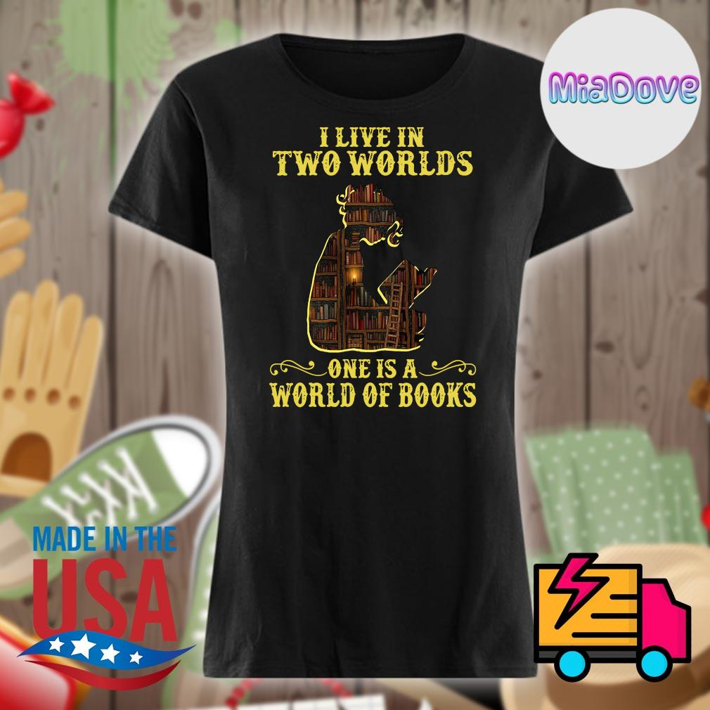 I live in two worlds one is a world of books s V-neck