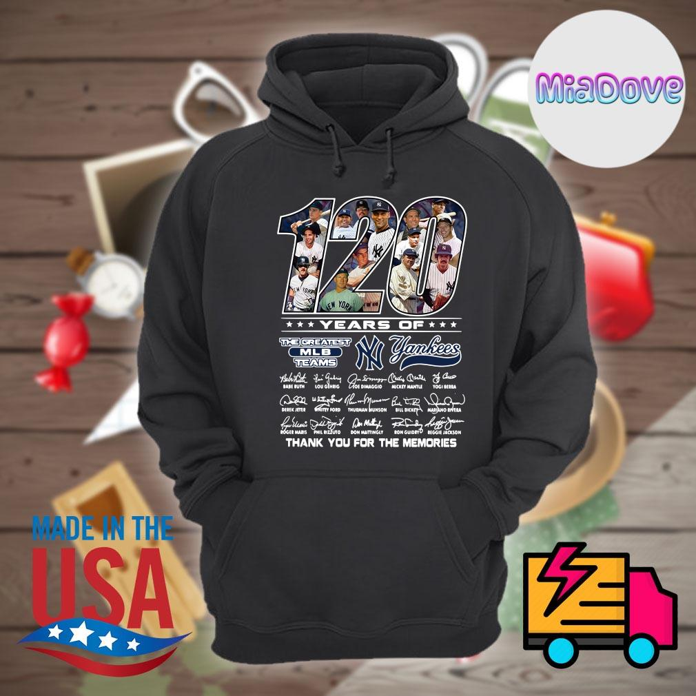 120 years of Yankees players signatures thank you for the memories s Hoodie