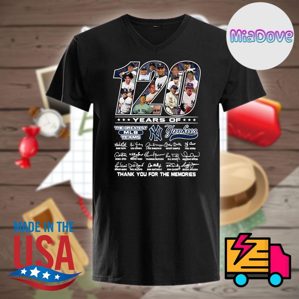 120 years of Yankees players signatures thank you for the memories shirt