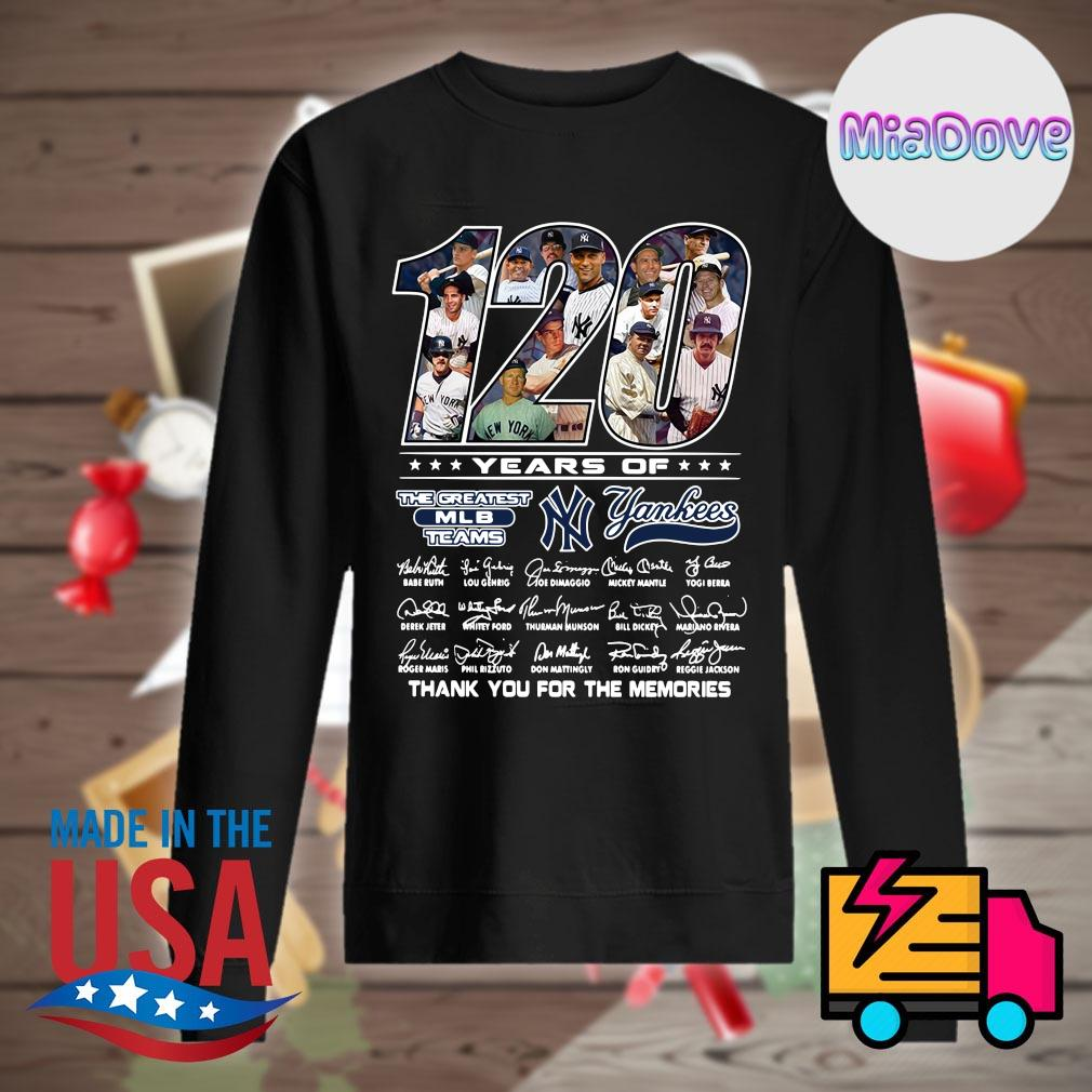 120 years of Yankees players signatures thank you for the memories s Sweater