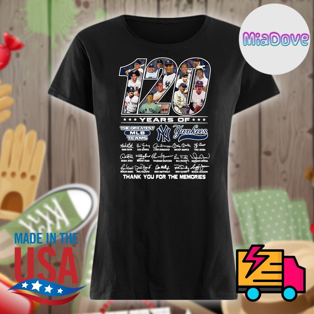 120 years of Yankees players signatures thank you for the memories s V-neck