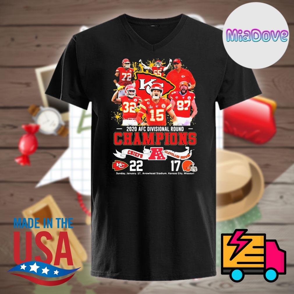 2020 AFC divisional round Champions Chiefs 22 Cleveland Browns 17 shirt