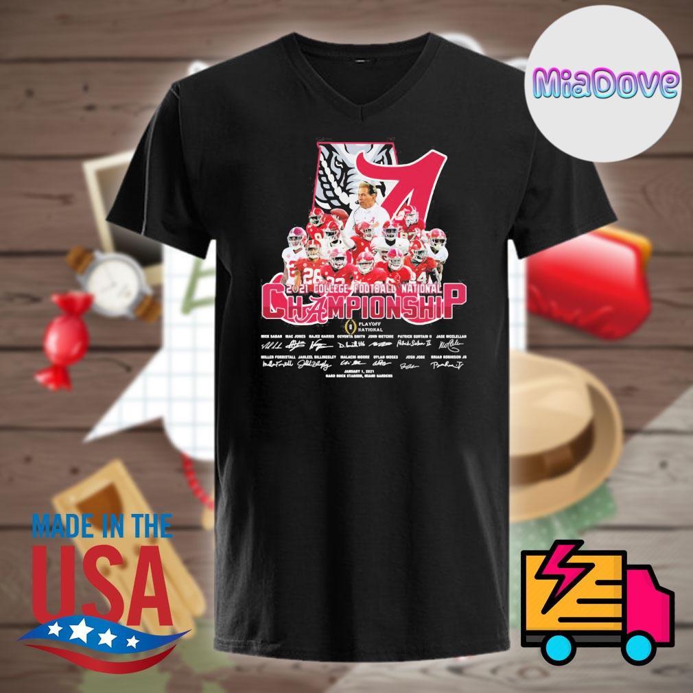 Alabama Crimson Tide 2021 college football National Championship signatures shirt