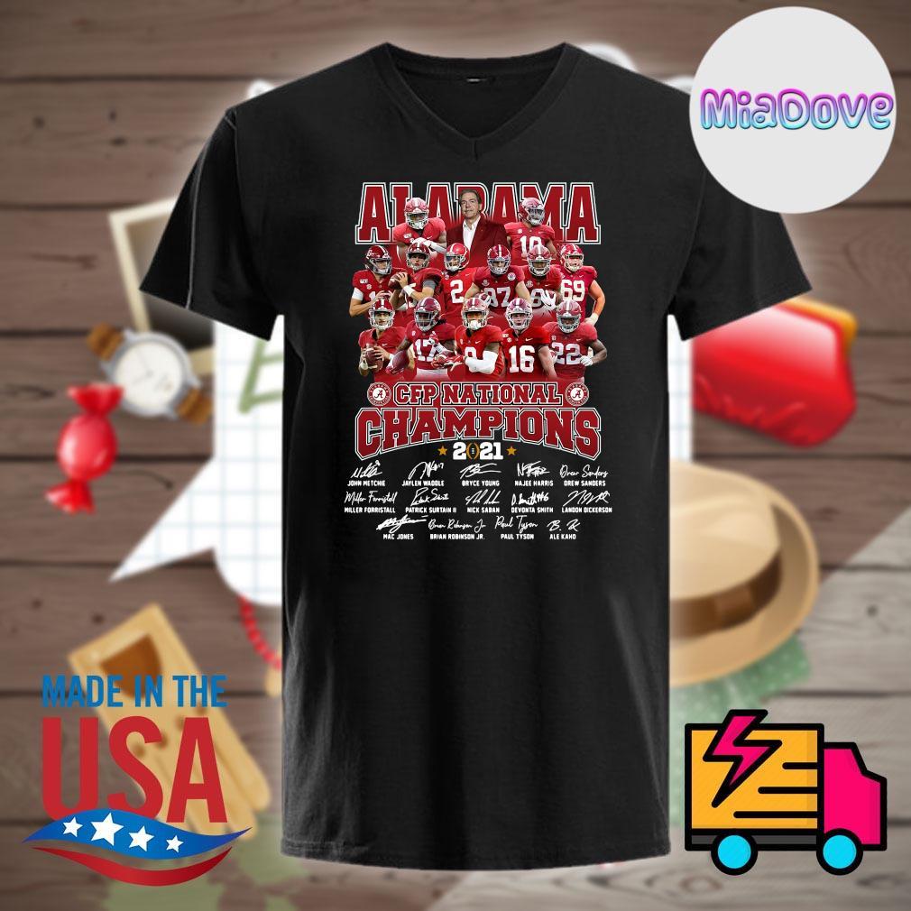 Alabama Crimson Tide CFP National Champions 2021 players signatures shirt