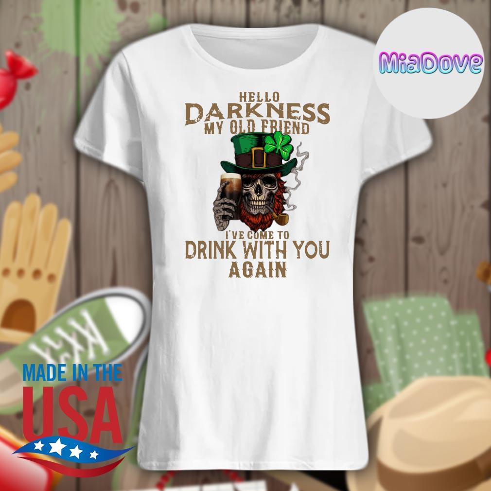 Skull Irish hello Darkness my old friend I've come to drink with you again s V-neck